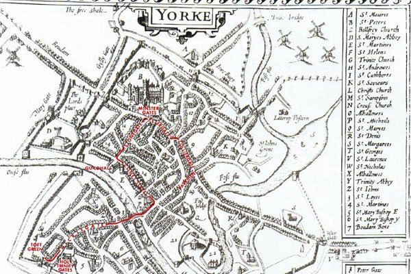 Map of former York Mystery Plays route